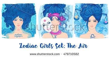 Zodiac girls set: Air. Vector illustration of Aquarius, Gemini, Libra astrological signs as a beautiful woman. Future telling, horoscope, alchemy, spirituality, occultism, fashion.