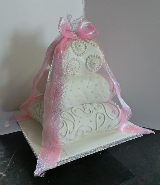 Three tier pillow wedding cake