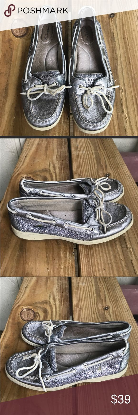 Sperry Top-Sider silver sparkly shoes 7.5 Sperry Top-Sider silver sparkly boat shoes. 7.5M. GUC. Sperry Top-Sider Shoes Flats & Loafers