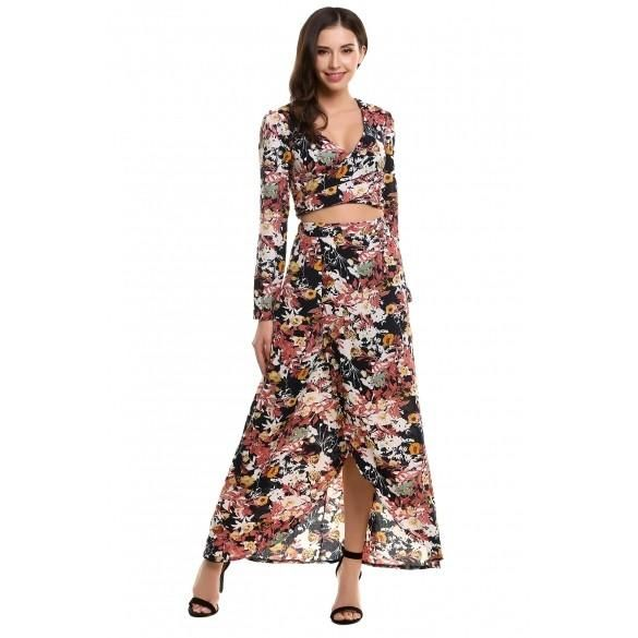 New Women Casual Retro Style V-Neck Long Sleeve Print Floral Dress Suit