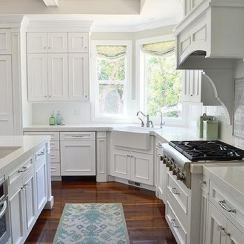 Corner Farmhouse Sink Kitchen : Corner Apron Sink Under Wraparound Windows, Transitional, Kitchen ...