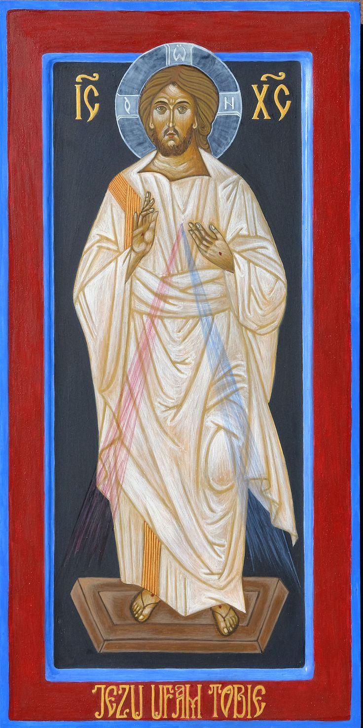 Ikona Jezusa Miłosiernego wykonana na wyjazdowych warsztatach pracowni Serca Jezusowego, deska, tempera jajaeczna