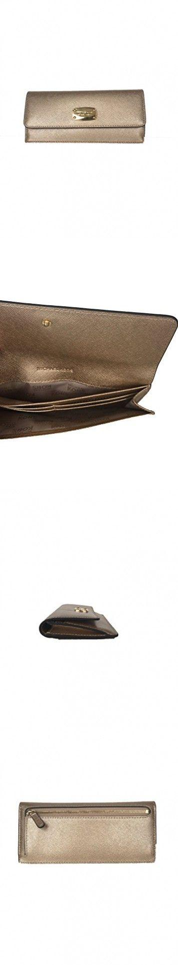 Michael Kors Jet Set Travel Pale Gold Leather Flat Wallet