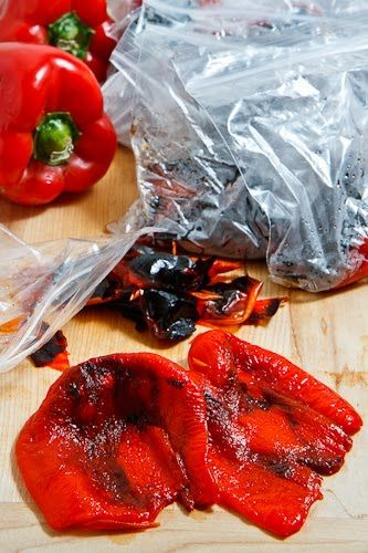 Roasted Red Peppers - do it yourself in late summer when they are cheap and plentiful, and freeze for winter