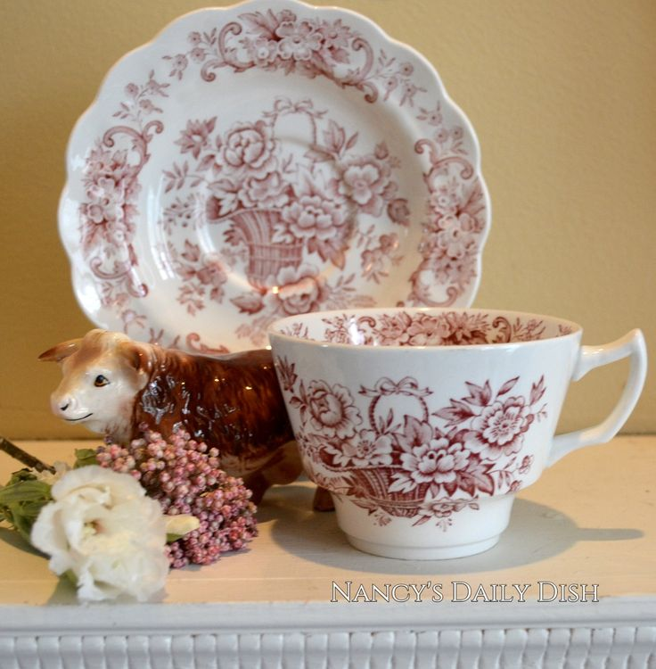 Vintage Red English Transferware Tea Cup and Saucer Victorian Basket of Roses
