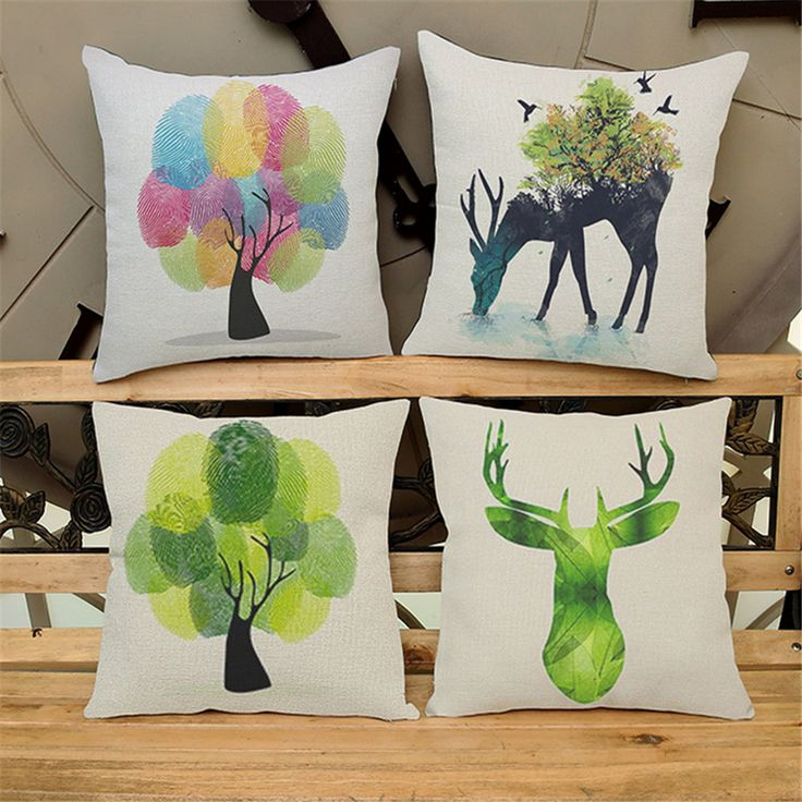 >> Click to Buy << Animal Throw Pillow Covers Decorative For Sofa 45*45cm Elk Cushion Cover Vintage Home Decor Scandinavian Style Homeware e706 #Affiliate