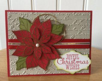Stampin Up handgemaakte kerstkaart - vrolijke rode en gouden poinsettia
