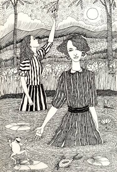 "Saatchi Art Artist Sonal Panse; Drawing, ""Two Girls In A Pond"" #art"