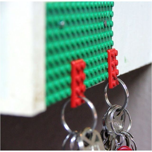 Lego keyholder: put Lego on the wall or wherever you put your