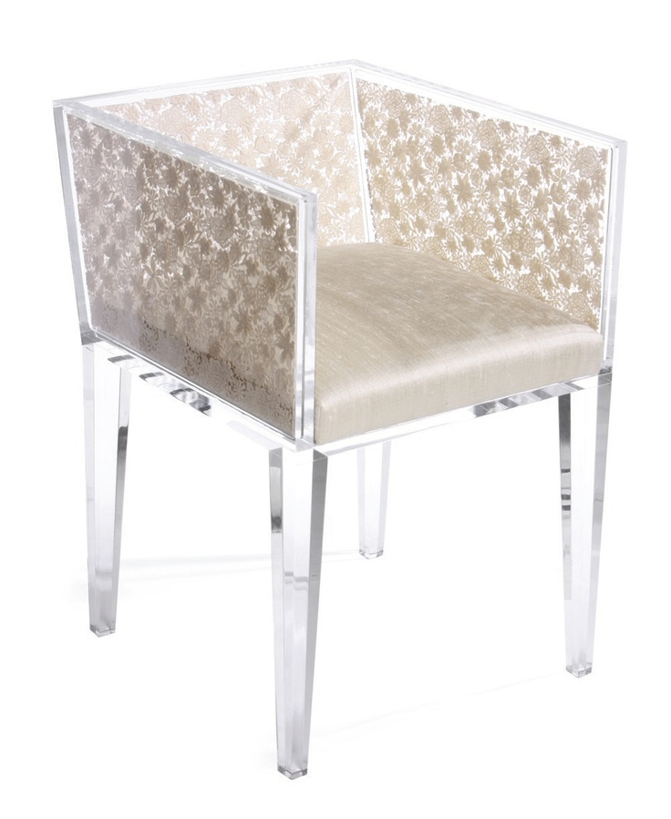 lucite chair with silk cushion and embedded lace