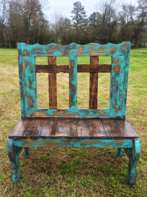 Handmade Rustic Two Cross Bench Turq and Brown Stain www.gugonline.com Price:$249.95