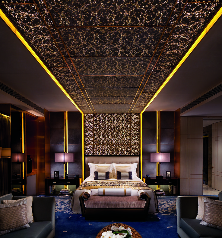 With 270-degree views on the 117th floor, the Ritz Carlton Suite would be jaw-dropping even if it didn't have a 42-inch television, full marble bathrooms, and 400 thread count sheets. Throw in Rolls Royce chauffeur service during your stay as well as two-person in-suite daily massages, and the place truly feels like opulence epitomized. From $20,000/night; ritzcarlton.com
