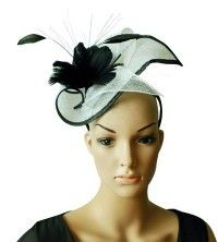 """""""Casque Floral"""" White and Black Fascinator. A beautifully sculptured headpiece sitting atop a satin headband, the sinamay base features a 2 tone design that is scooped and met at the centre with a spray of goose feathers and added sinamay curls. $79.95 including gift box and FREE shipping in Australia."""