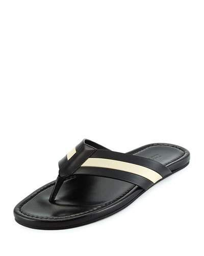 Bally+Venzio+Calf+Leather+Thong+Sandals+Black+|+Shoes+and+Footwear