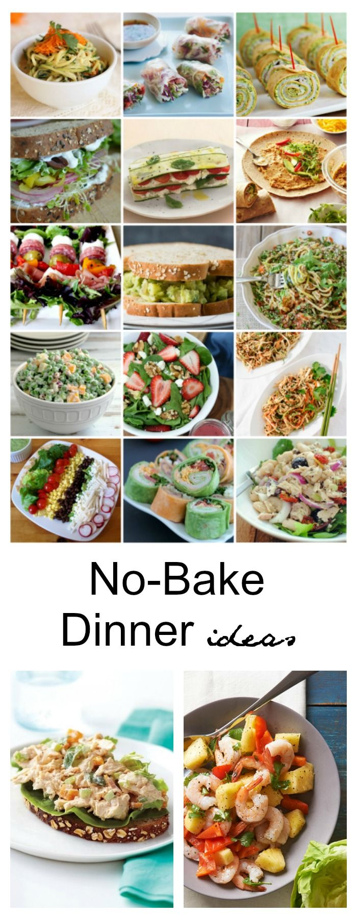 Recipe Ideas| I would much rather be outside enjoying my kids and the beautiful sunshine. So, today I have gathered some No-Cook Dinner Ideas that are healthy, tasty and heat-free.