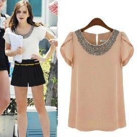 new 2013 chiffon blouse  blusa neon hot selling women's blusas casual dress camiseta denim camisa 7size XXXL XXXXL bk04-in Denim Clothings f...