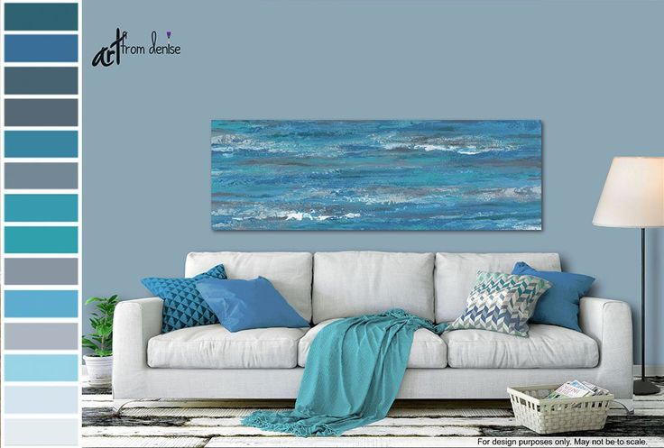 Blue & gray abstract painting, Panoramic prints – Canvas wall art over bed, Decor above couch, Dinin