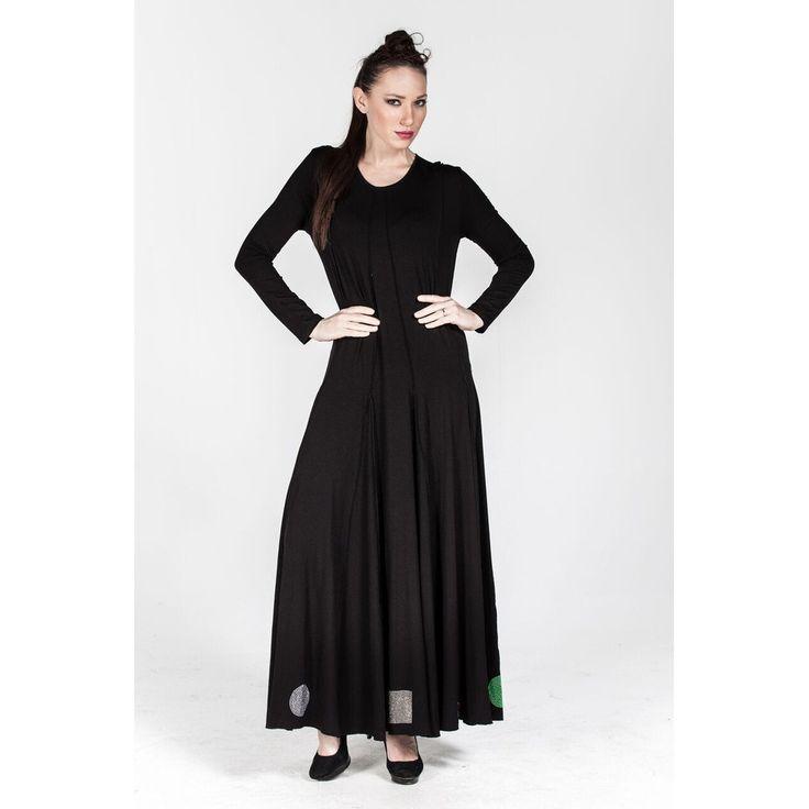 Plus size Black Rollneck Stony Detail at Bottom Dress