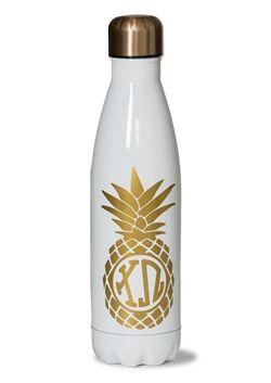 Chi Omega Pineapple Water Bottle.  www.sassysorority.com.  #pineapple #waterbottle #xo #sororityletters #bidday #bigsis #littlesis #chiomega #drinkware #sororitygift #tumbler #swell #sassysorority