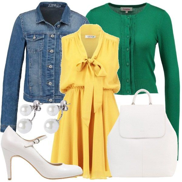 Abito con collo a scialle e fiocco color giallo abbinato a cardigan verde da indossare sbottonato e giubbotto di jeans color blu medio. Per gli accessori ho scelto mary jane color latte, zainetto in pelle color ghiaccio e orecchini con perle.