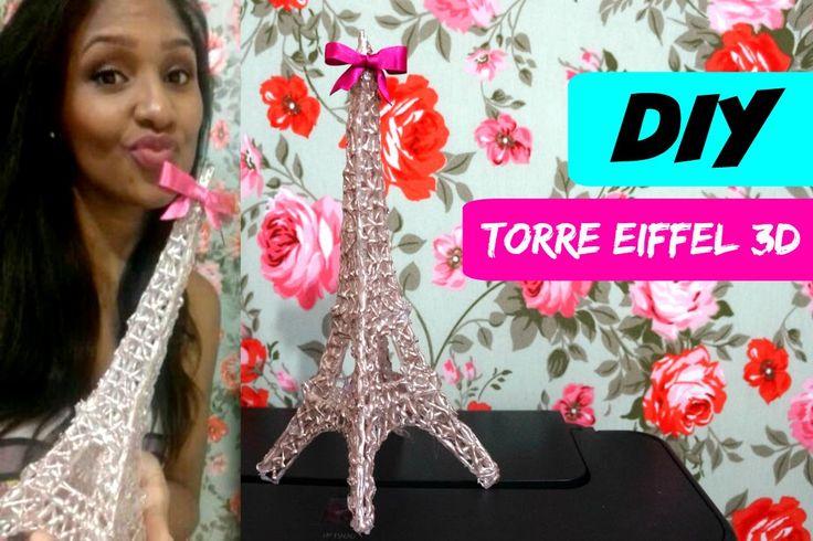Como fazer Torre Eiffel 3D com cola quente / DIY - Por Priscila Oliveira