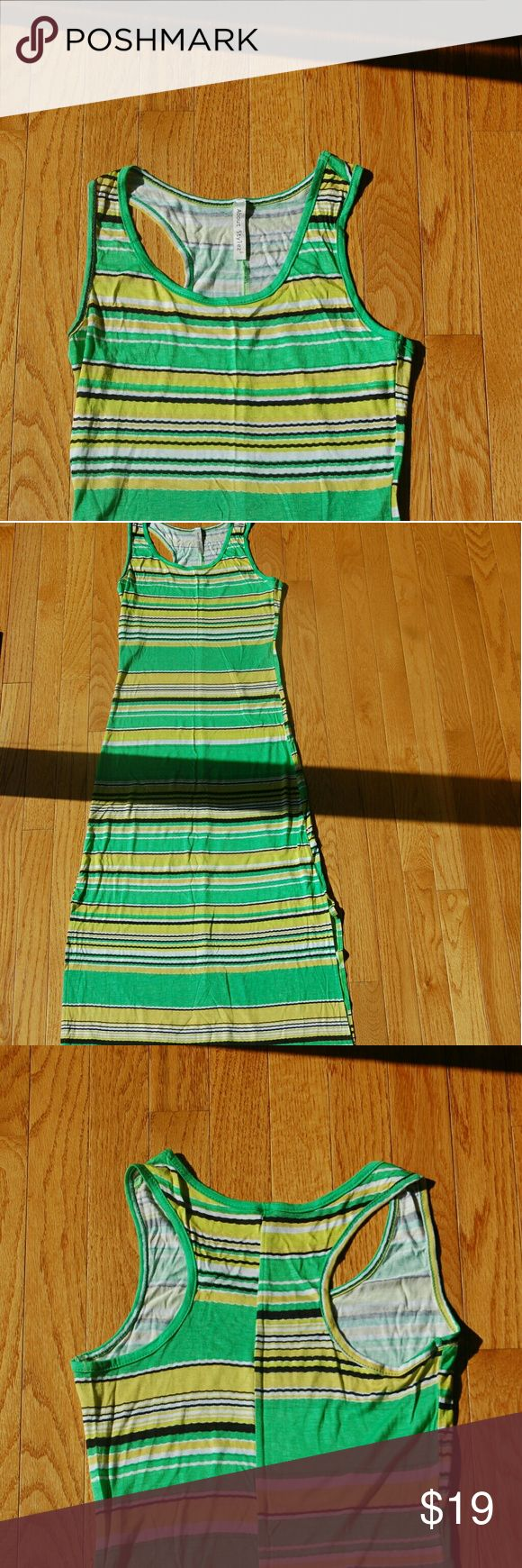 Lime Green Maxi Dress New Green Stripe Maxi Dress w Two Slits  Razor Back Style Dresses Maxi