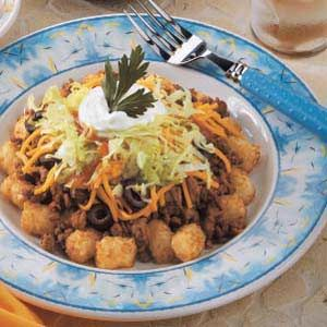 """""""Tater Tot Taco Salad""""- We luv doing these as much as tacos- basically Super Potato Oles from Taco Johns, but better 'cuz homemade any way you want!"""
