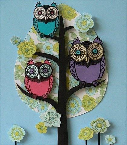 Baby room decor - Beautiful owl tree