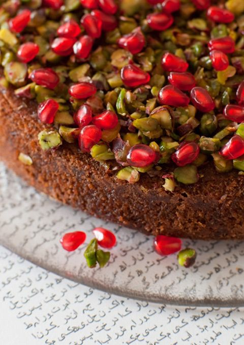 This is such a lovely, simple cake, and one that I make again and again at this time of year when our lime tree is laden with fruit. It's surprisingly light, tangy and just so eye-catching with its beautiful pistachio and pomegranate topping and pale-green hue. Just a note about the pistachios for the cake …