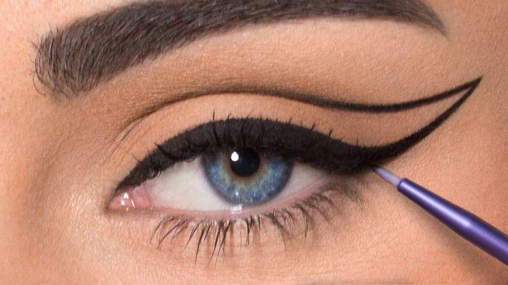 Runway Makeup: Runway Cat Eyes. Inspired by Herve Leger. Give Good Face/ Jordan Liberty. Model Brooke Quinn. Urban Decay