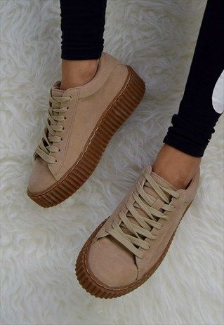 SHOW+GIRL+Gum+Sole+Creeper+-+Beige+Faux+Suede