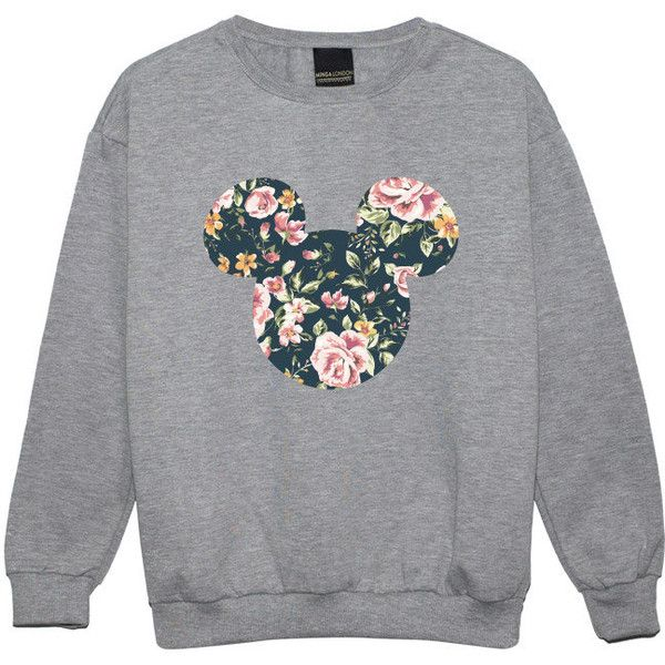 Mouse Floral Sweater Jumper Womens Ladies Fun Tumblr Hipster Swag... (76 BRL) ❤ liked on Polyvore featuring tops, sweaters, jumpers, jumpers sweaters, floral print tops, star jumper, star print top and grunge tops