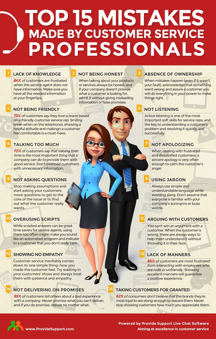 Top 15 Mistakes Made By Customer Service Professionals (Infographic): http://www.providesupport.com/blog/15-mistakes-of-customer-service-professionals/ #custserv #customerexperience