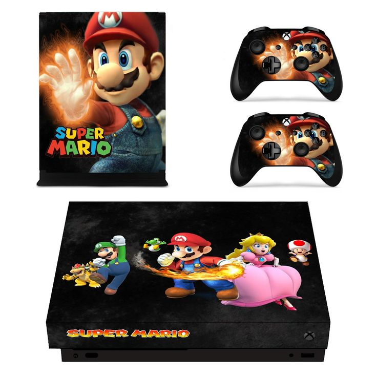 Super Mario xbox one X skin decal for console and 2 controllers