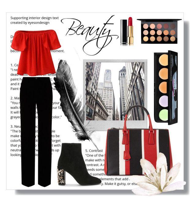 """Untitled #26"" by siggan22 on Polyvore featuring Polaroid, Prada, Roberto Cavalli, WithChic, MAC Cosmetics and L'Oréal Paris"