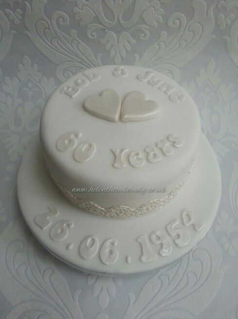 Simple hearts and lace diamond anniversary cake