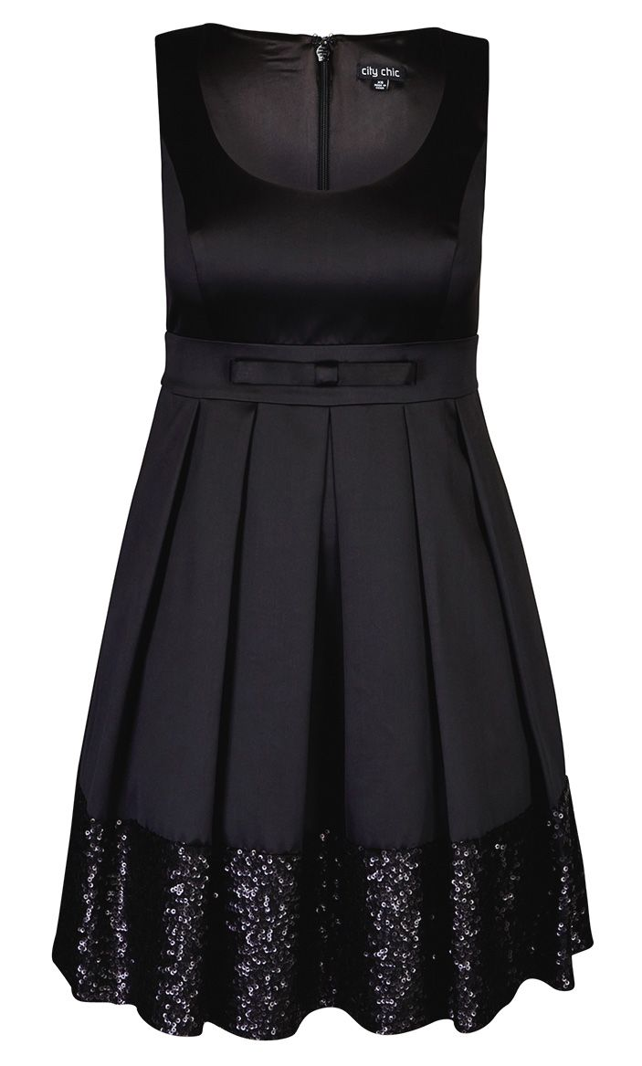 City Chic - SEQUIN DANCE DRESS - Women's Plus Size Fashion Bejewelled LBD! Can you ever have enough...