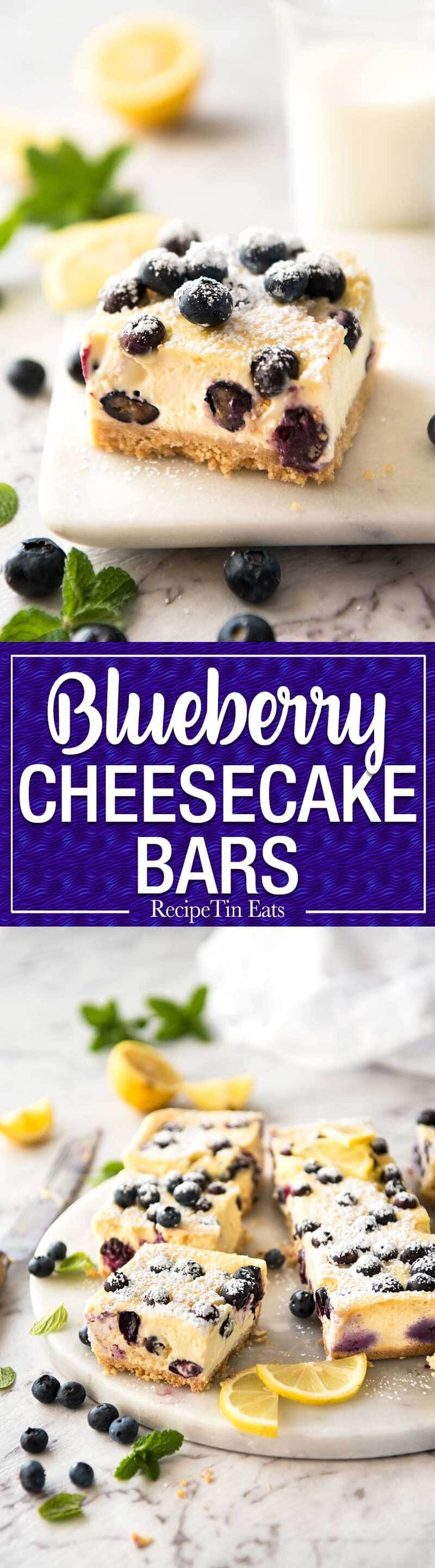 CLASSIC Blueberry Cheesecake Bars