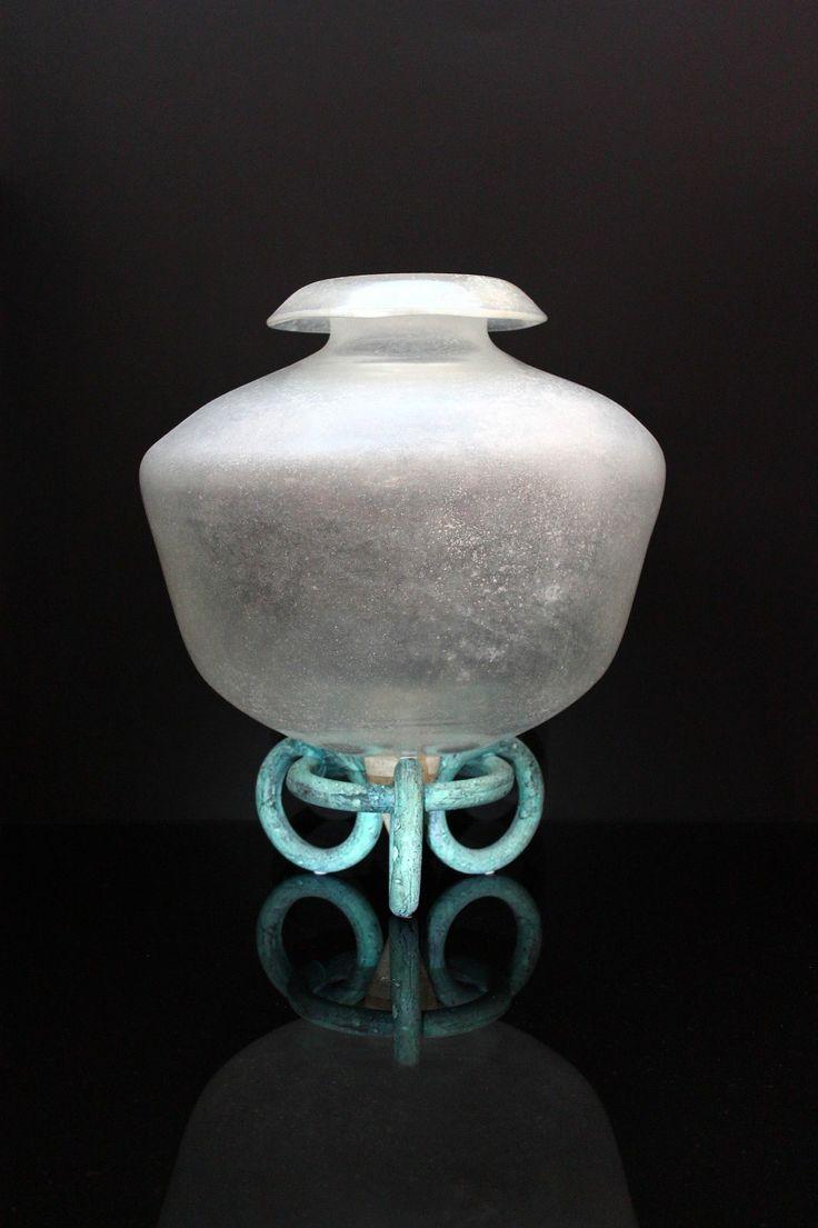 """eguso Vetri d´ Arte, Murano """"Vase mit Bronzefuß"""""""