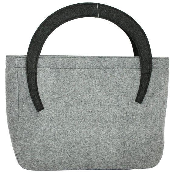 Felt bag ladies handbag casual bag grey felt by Marywool on Etsy