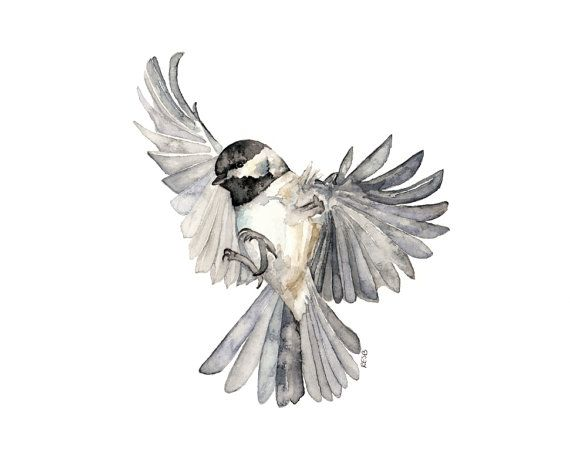 "Bird in Flight Painting - Print from Original Watercolor Painting, ""Freedom"", Chickadee, Songbird, Flying Bird"