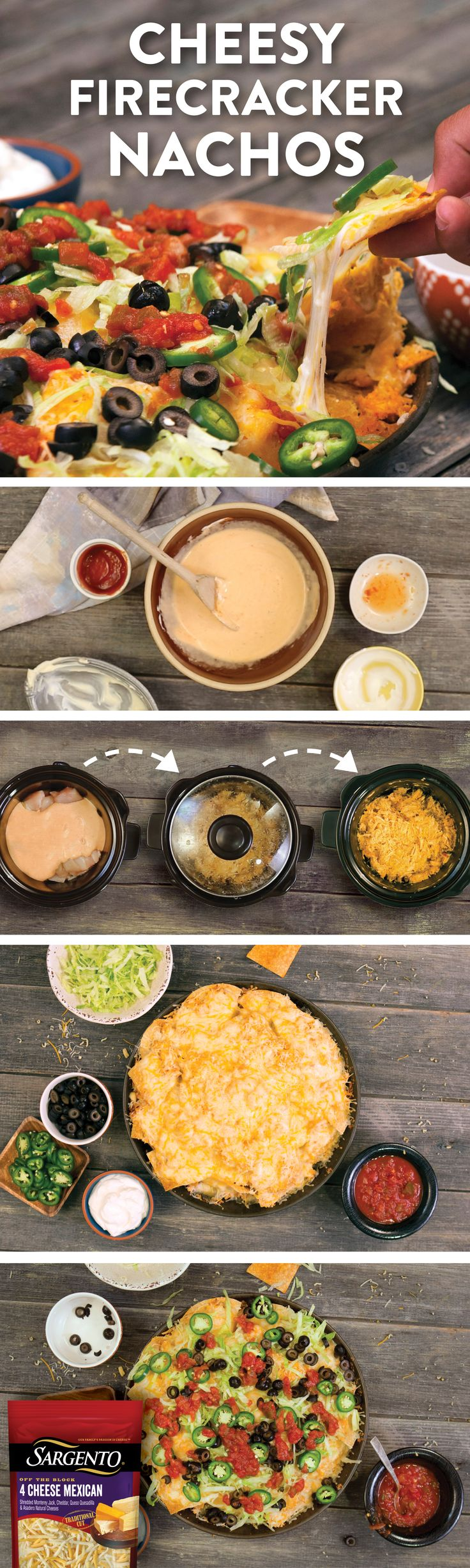 If you can handle the heat, then we recommend that you stay in this cheesy kitchen because these nachos are a fiery treat. We've layered crispy tortilla chips with shredded chicken breasts that have been tossed in a sriracha garlic mayo. Then top them off with melted, creamy, Sargento ® 4-Cheese Mexican shredded cheese.