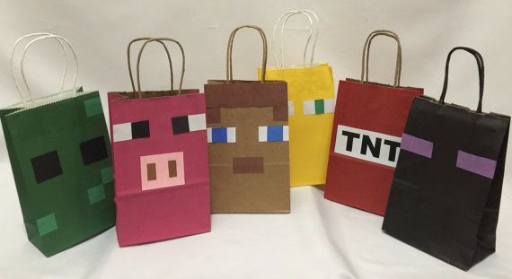 Handcrafted Creepy goodie bags Can be used for Minecraft theme party. Bags have handles and are very sturdy to fill with lots of candy Size is
