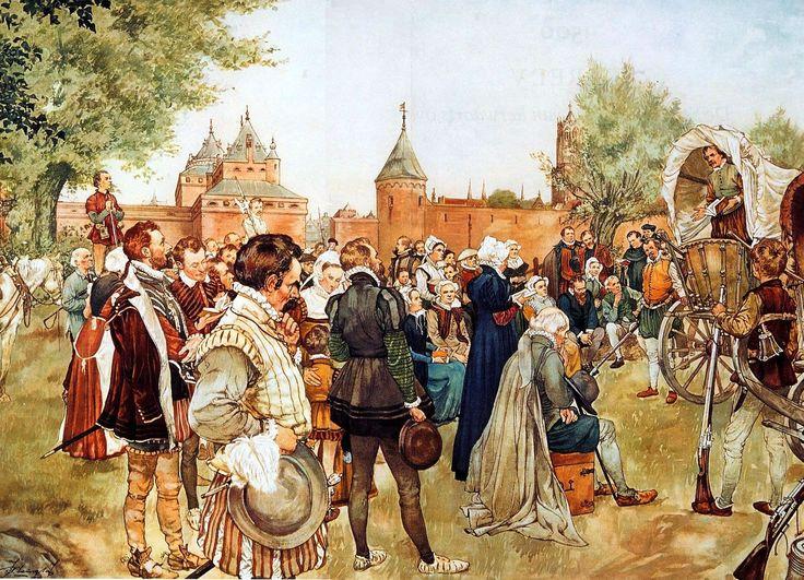 Een Hagepreek buiten Utrecht, augustus 1566. De eerste hagepreek vond plaats op Loevenhout aan de Vecht, op grondgebied van het kapittel van St. Jan. | Schoolplaat Isings