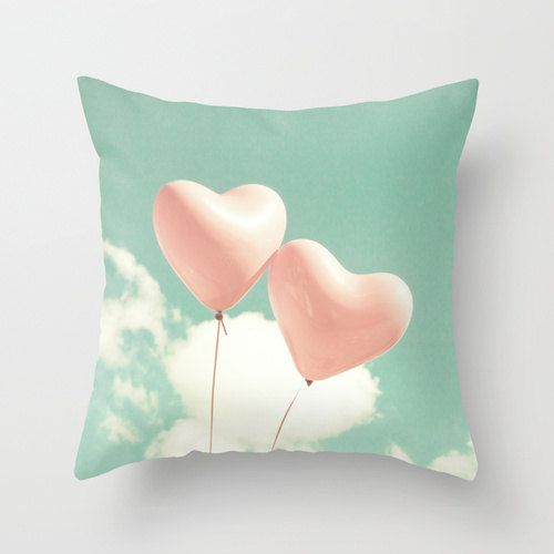 Pillow cover, mint pillow, aqua pillow, turquoise pillow, pink pillow, coral pillow, spring decor, heart, girl nursery decor, pastels on Etsy, $40.82 CAD