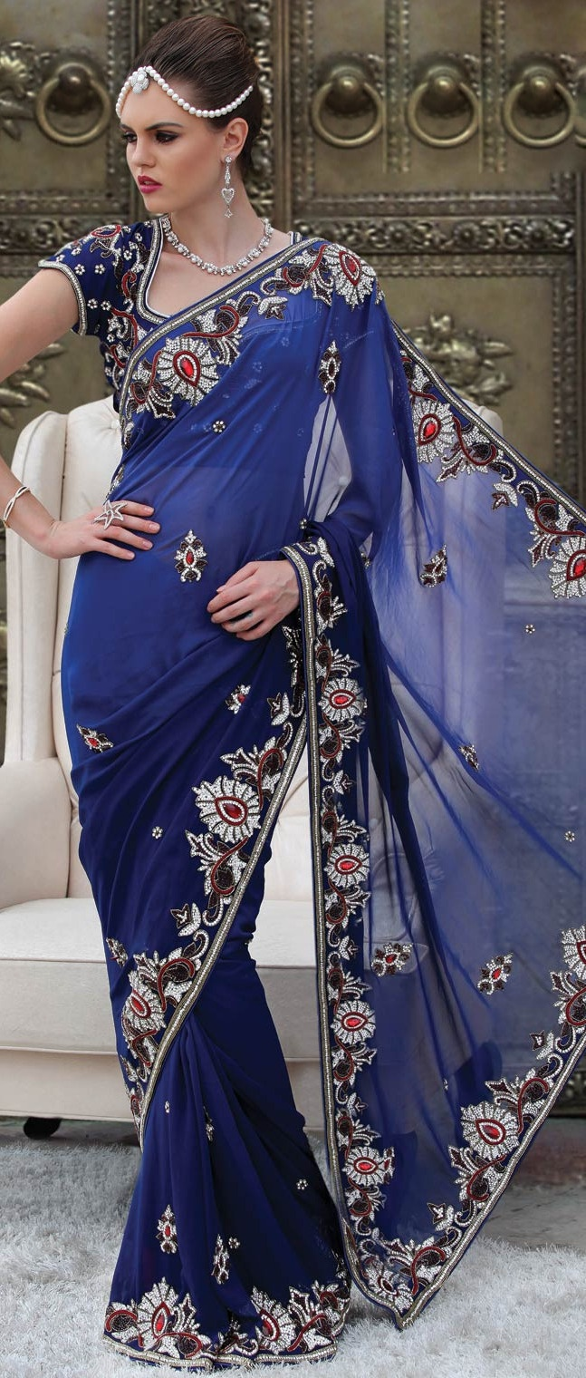 Royal #Blue Faux #Georgette #Saree With Blouse @ $505.23