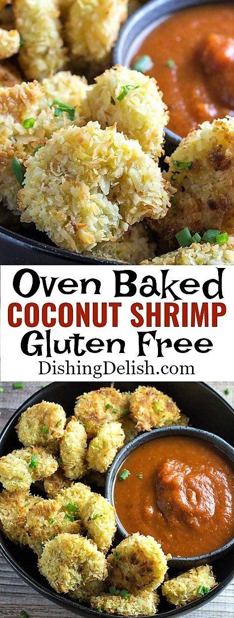 Oven Baked Coconut Shrimp Gluten Free Crispy & delicious Gluten free Coconut Shrimp is a treat your whole family will love.  #Gluten_Free #CoconutShrimp #ShrimpRecipe #glutenfreerecipes #dinnerrecipes