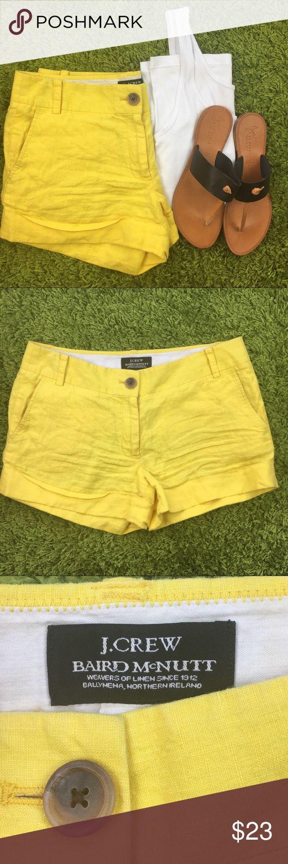 J.Crew Linen Shorts Baird McNutt J. Crew Linen Shorts. City Fit. Collaboration with Irish Linen Company Baird McNutt. 100% Linen. Gently Worn. Summer Yellow. J. Crew Shorts