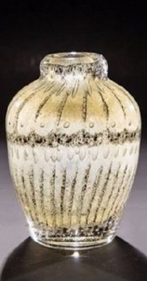 Rare Henri-Edouard Navarre 1925 French Art Deco Studio Glass Vase. Exceptional piece of glass by Henri-Edouard Navarre of France, circa 1925. Fabulous handmade Art Deco vase of thick-walled paperweight construction featuring a golden yellow interior and intriguing decor of grey/black metallic oxides in a linear pattern accented by myriad bubbles in various sizes, all cased by clear glass.