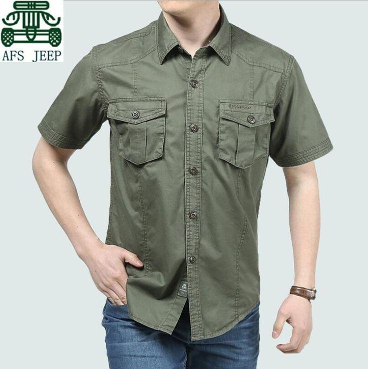 AFS JEEP Original 100% Cotton Real Men Cargo Shirts,Men leisure Good Quality Cardigan Clothe,Wholesale Big Size Men Cotton Shirt